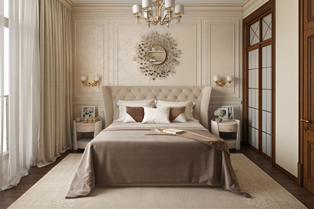 Интерьер спальни с фотографиями в рамочках