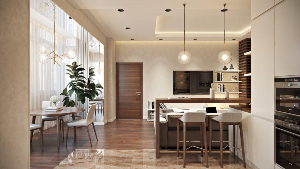 Дизайн интерьера кухни, отделенный от гостиной барной стойкой