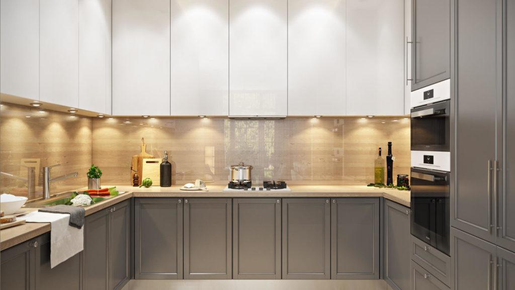 П-образная планировка кухни в проекте квартиры