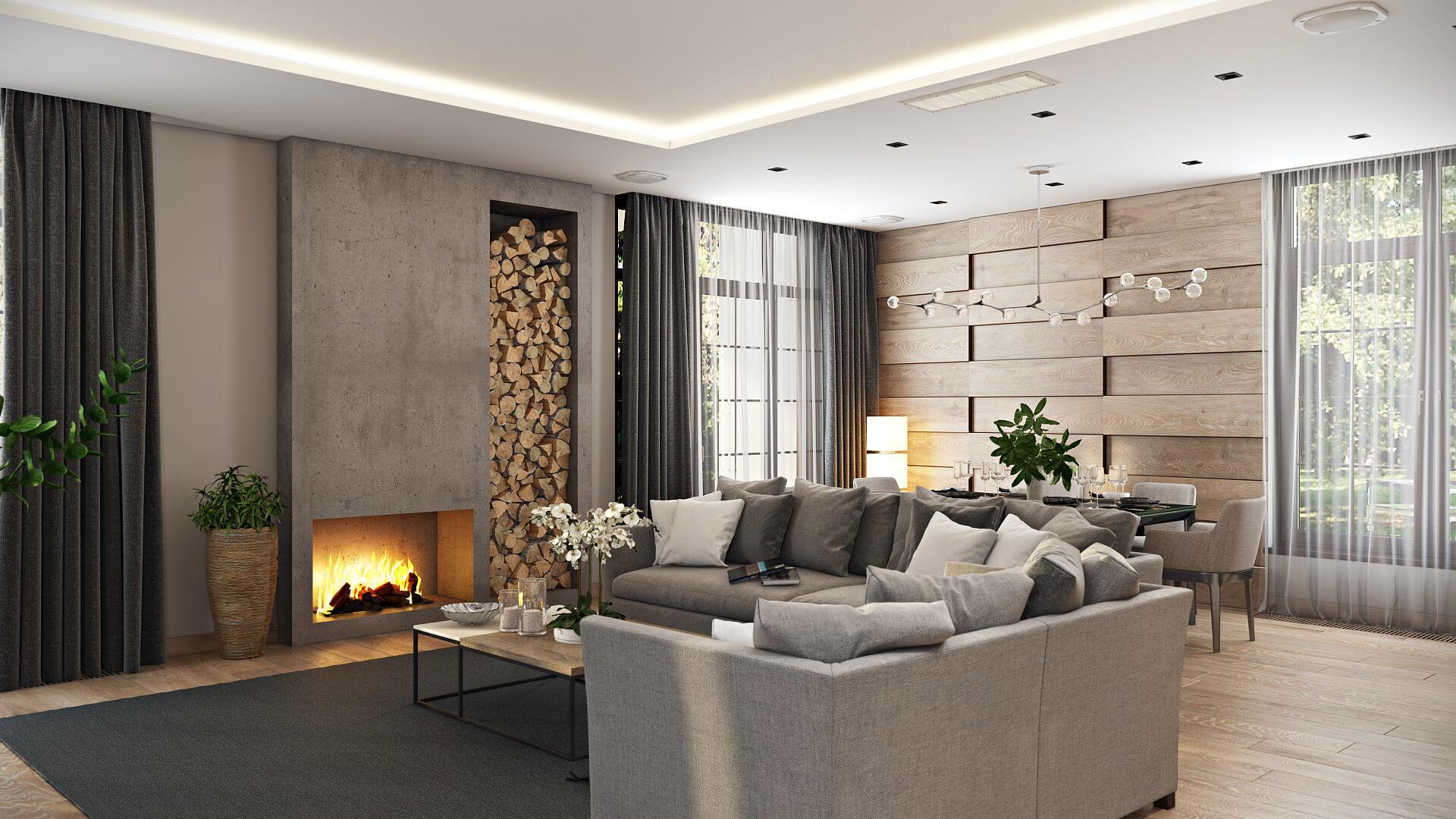 Сэкономить на ремонте квартиры: подбор материалов для гостиной с камином
