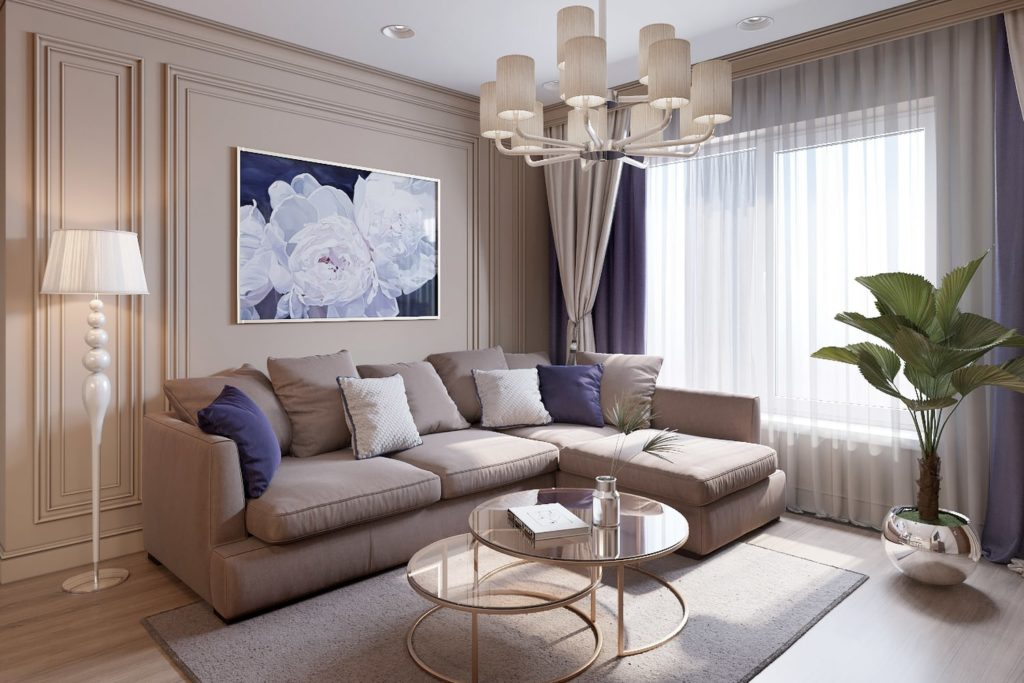 Дизайн однокомнатной квартиры с прозрачным столиком