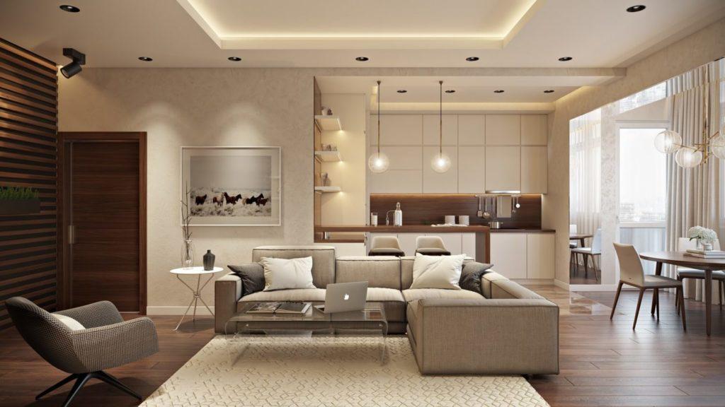 Дизайн интерьера однокомнатной квартиры в светлых оттенках