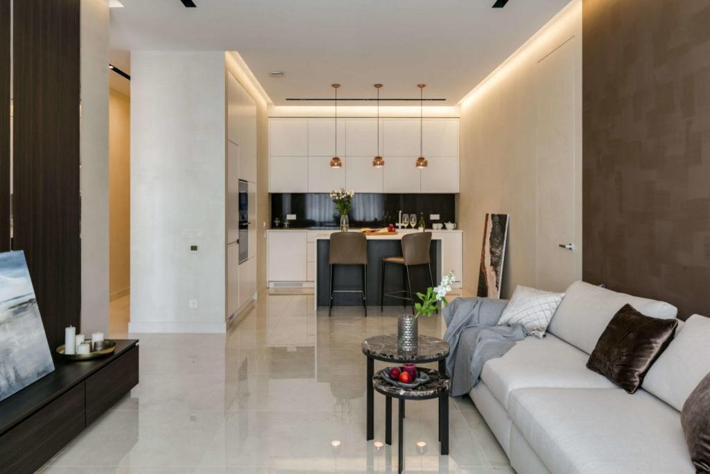 Дизайн интерьера однокомнатной квартиры с грамотным зонированием пространства