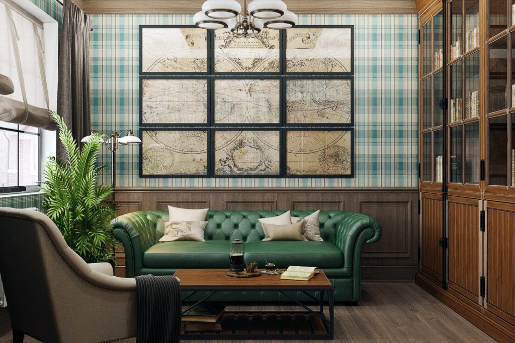 Традиционный дизайн интерьера домашнего кабинета