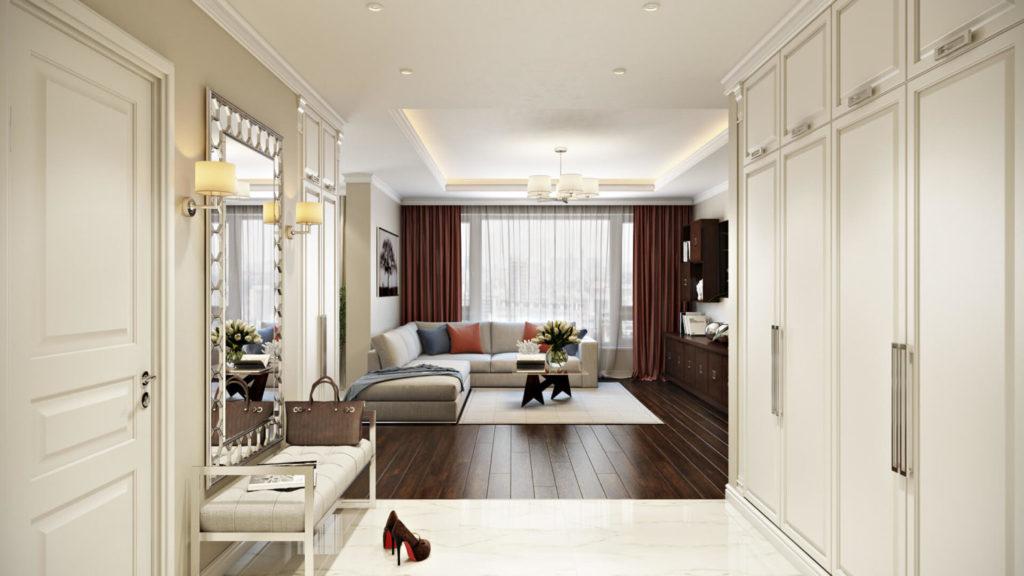 Проект дизайнерского ремонта квартиры-студии с перепланировкой