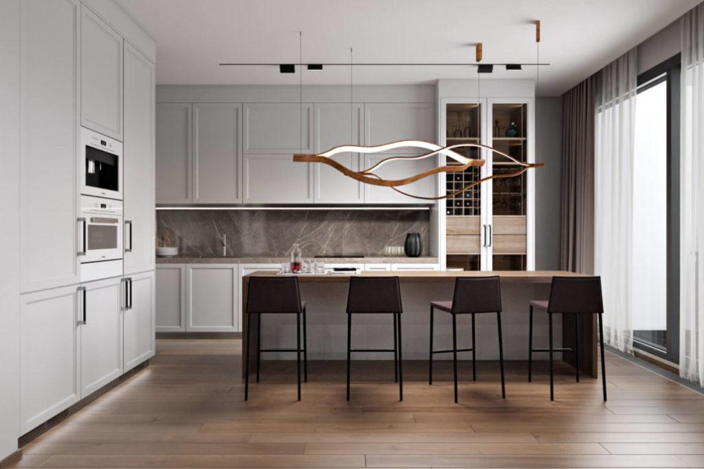Кухня с деревянными полами
