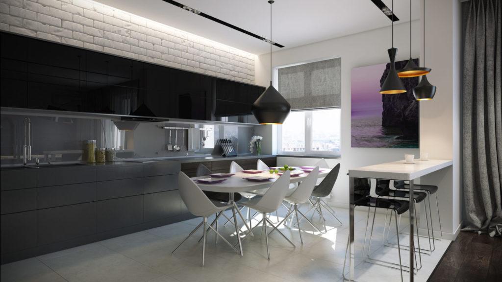 Интерьер кухни с декоративным кирпичом