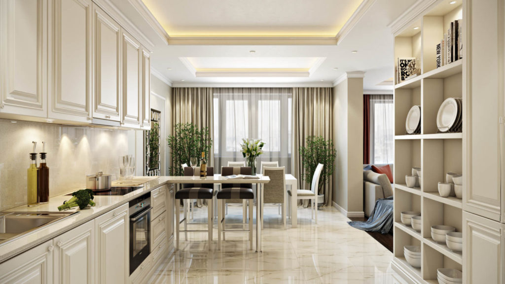 Проект ремонта светлой кухни с окрашенным потолком