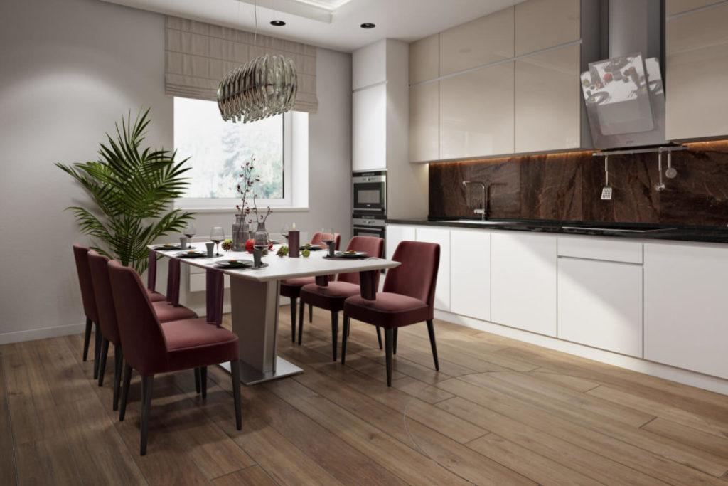 Ремонт кухни-столовой с профессиональной установкой вытяжки