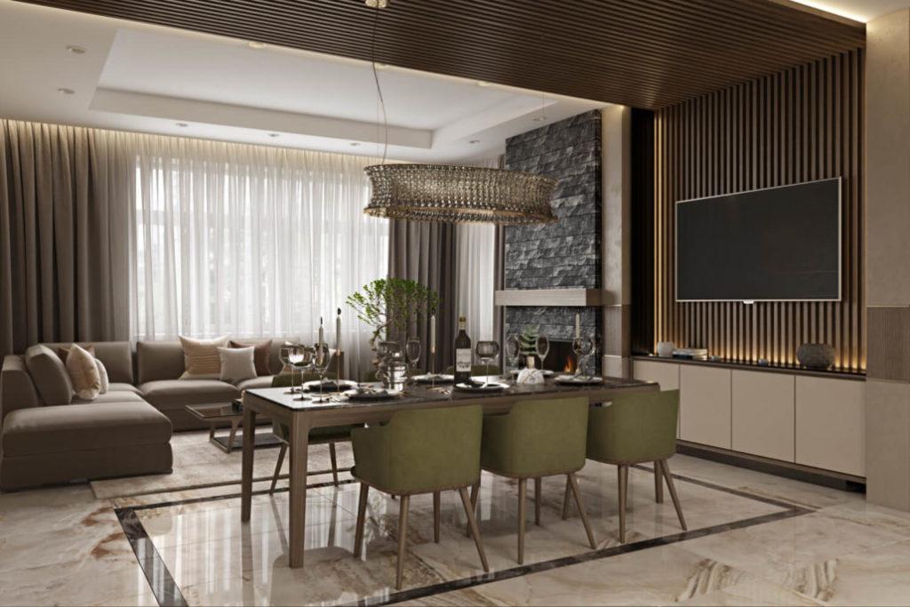 Дизайн интерьера гостиной с камином и ТВ