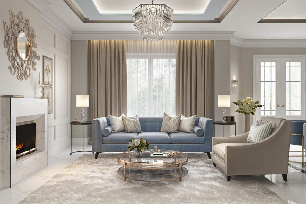 Дизайн классической гостиной с массивным зеркалом