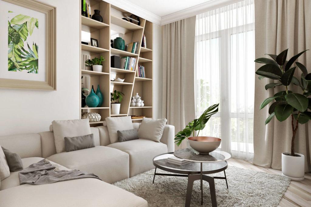 Стеллаж для хранения и декора в дизайне гостиной