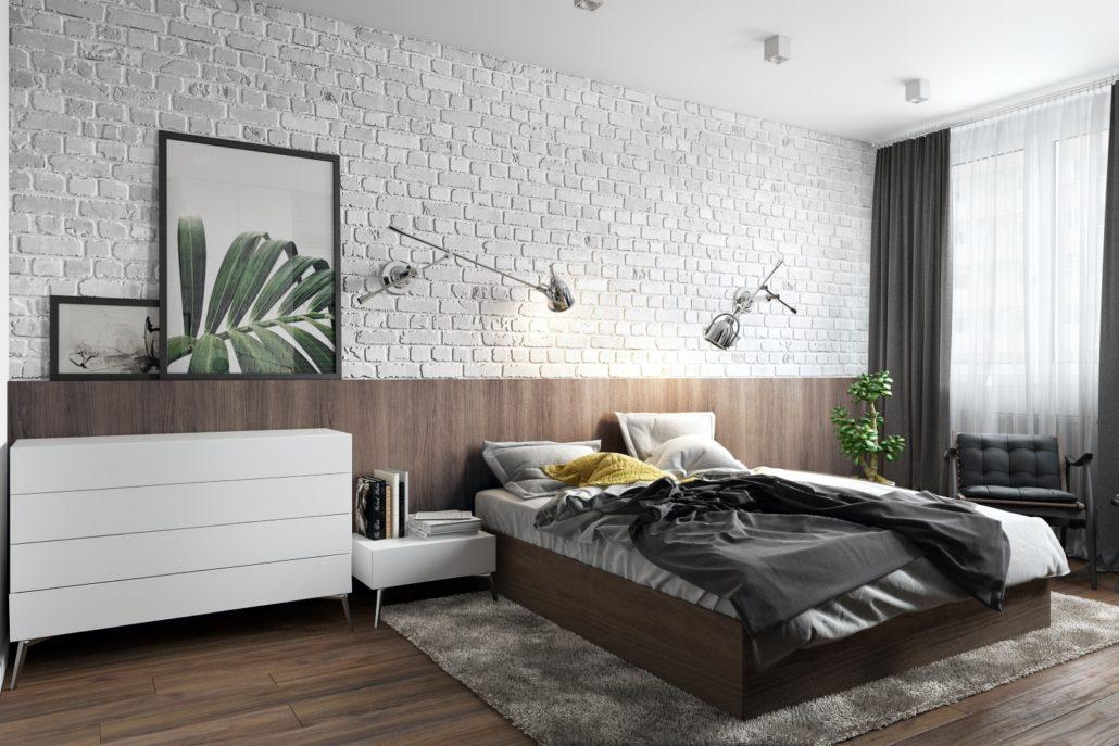 Современный стиль дизайна интерьера спальни с минимумом мебели
