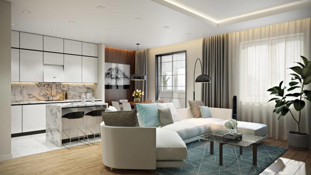 Современный стиль дизайн интерьера с открытой планировкой
