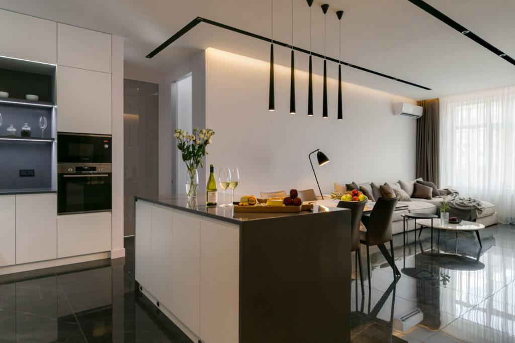 Современный стиль в дизайне интерьера квартиры со студией