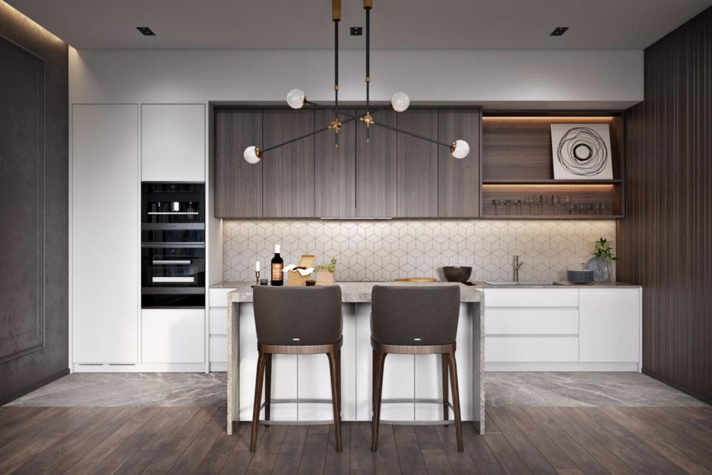 Белый и коричневый цвета в интерьере кухни