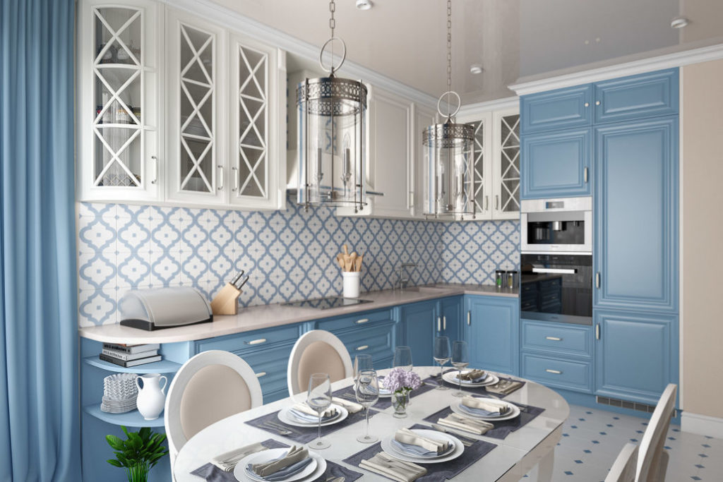 Дизайн кухни в элегантном голубом цвете