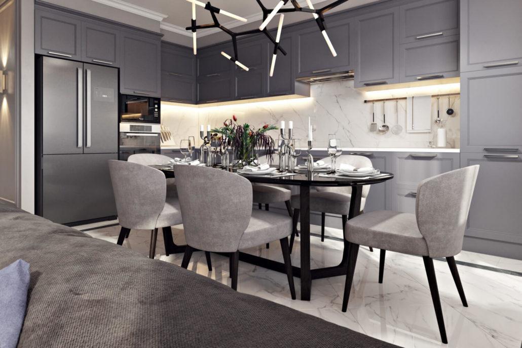 Проект дизайна кухни в синем цвете