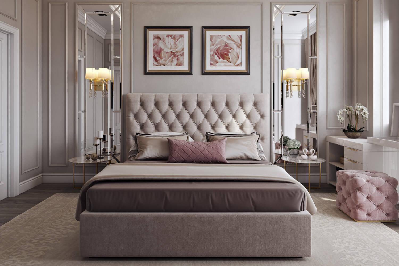 Дизайн спальни с кроватью со встроенным хранением