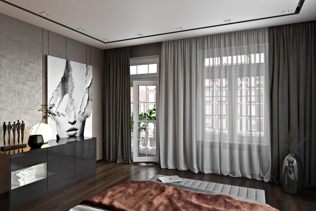 Дизайн интерьера спальни с балконом
