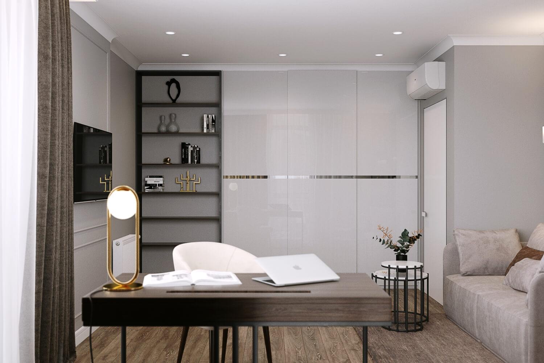 Проект дизайна спальни с комфортным рабочим местом