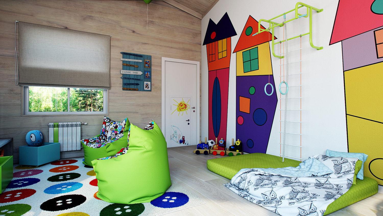 Красочный дизайн игровой комнаты для ребенка