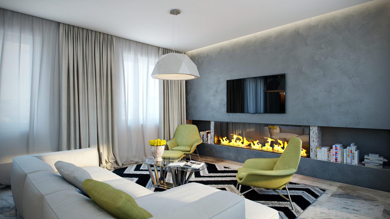 Стильный интерьер гостиной комнаты благодаря точке фокуса