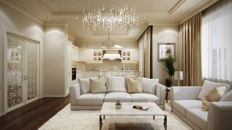 Эффектный бежевый цвет в интерьере гостиной