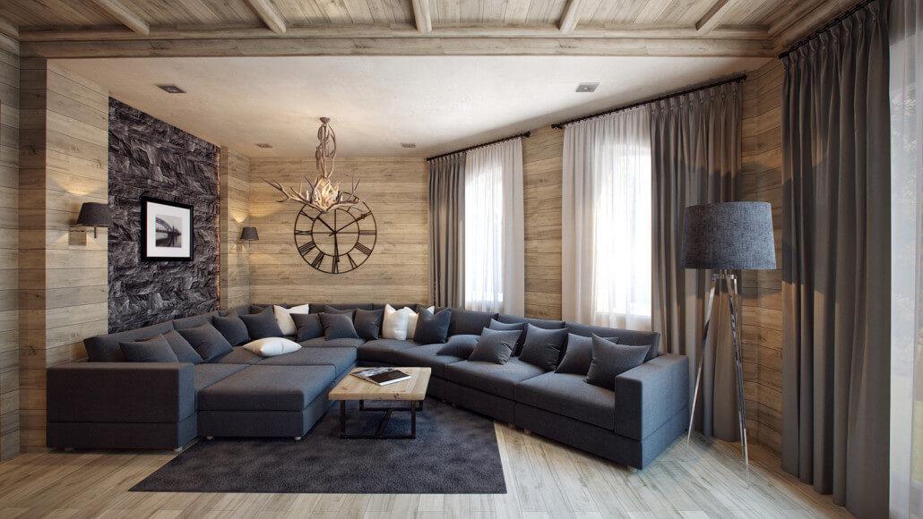Использование дерева в интерьере современной гостиной