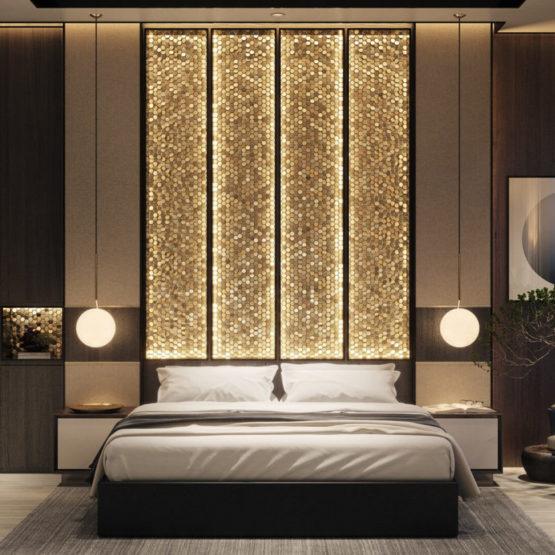 Дизайн спальни с акцентной стеной