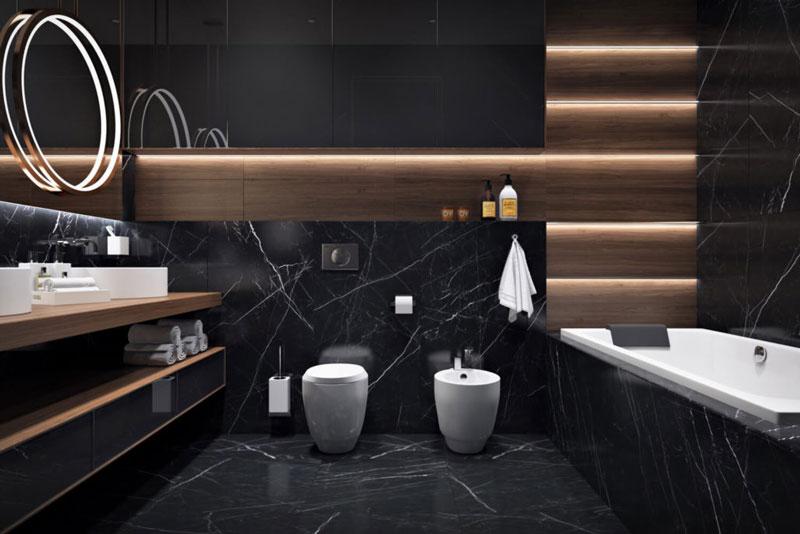 Современный дизайн ванной с облицовкой из мрамора и дерева