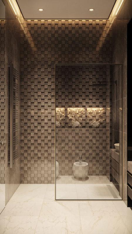 Дизайн-проект современной ванной с прозрачной душевой