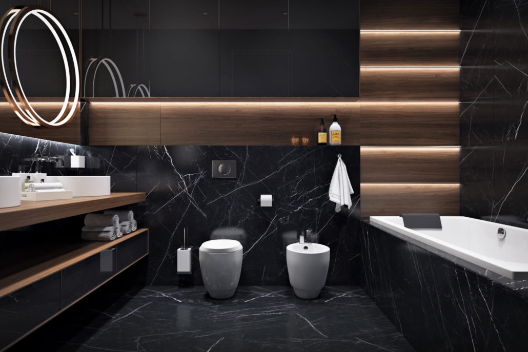 Дизайн-проект тёмной ванной в современном стиле