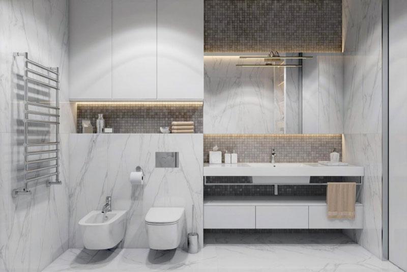 Дизайн-проект ванной в светлых тонах