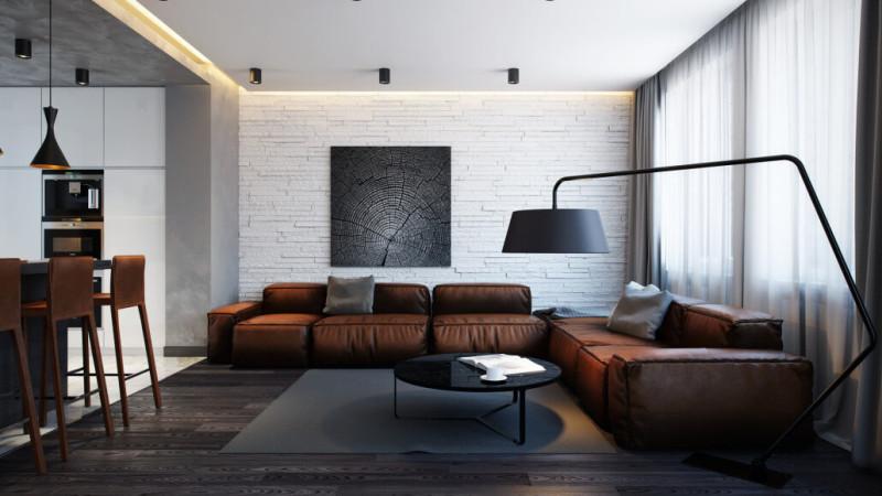 Бело-черный дизайн интерьера гостиной