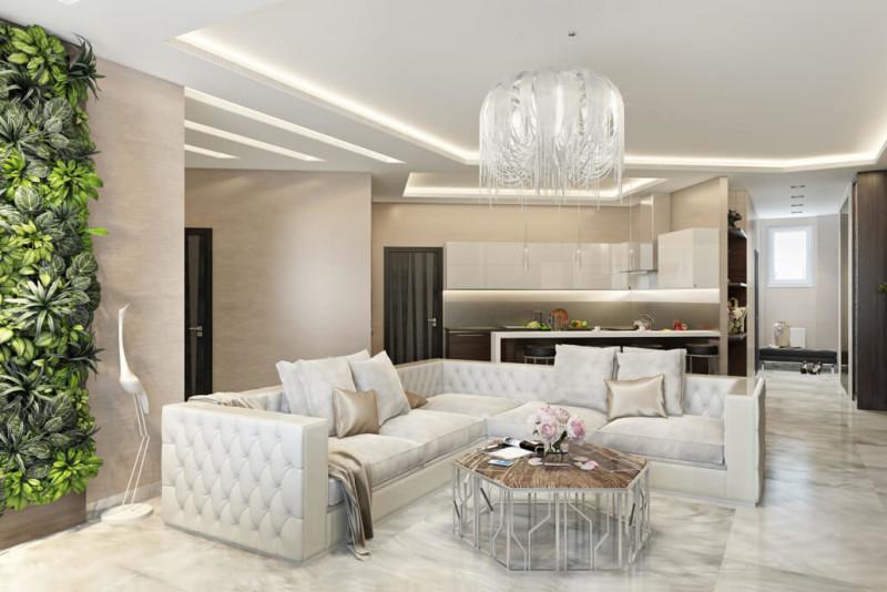 Белый цвет в интерьере гостиной: сочетание оттенков