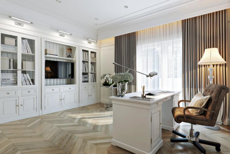 Белый цвет в интерьере домашнего кабинета: золотистые оттенки