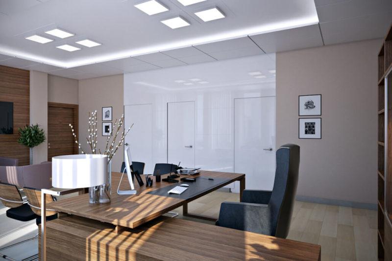 Солидный и удобный кабинет руководителя: дизайн интерьера офиса