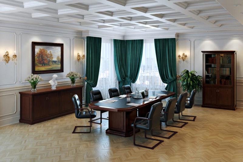 Элегантный переговорный кабинет: дизайн интерьера офиса