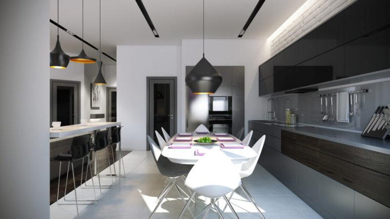 Черный, белый и серый цвета в дизайне кухни