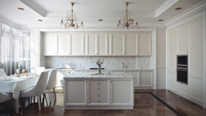Оттенки белого в дизайне кухни