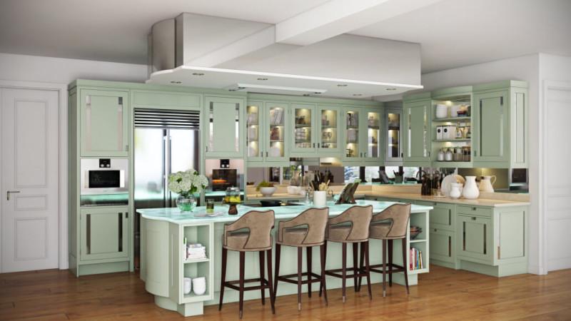 Мятная островная кухня: Дизайнерский Ремонт Квартир