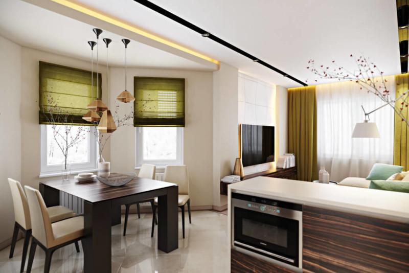 Эффектный интерьер с зелеными акцентами: дизайнерский ремонт квартир