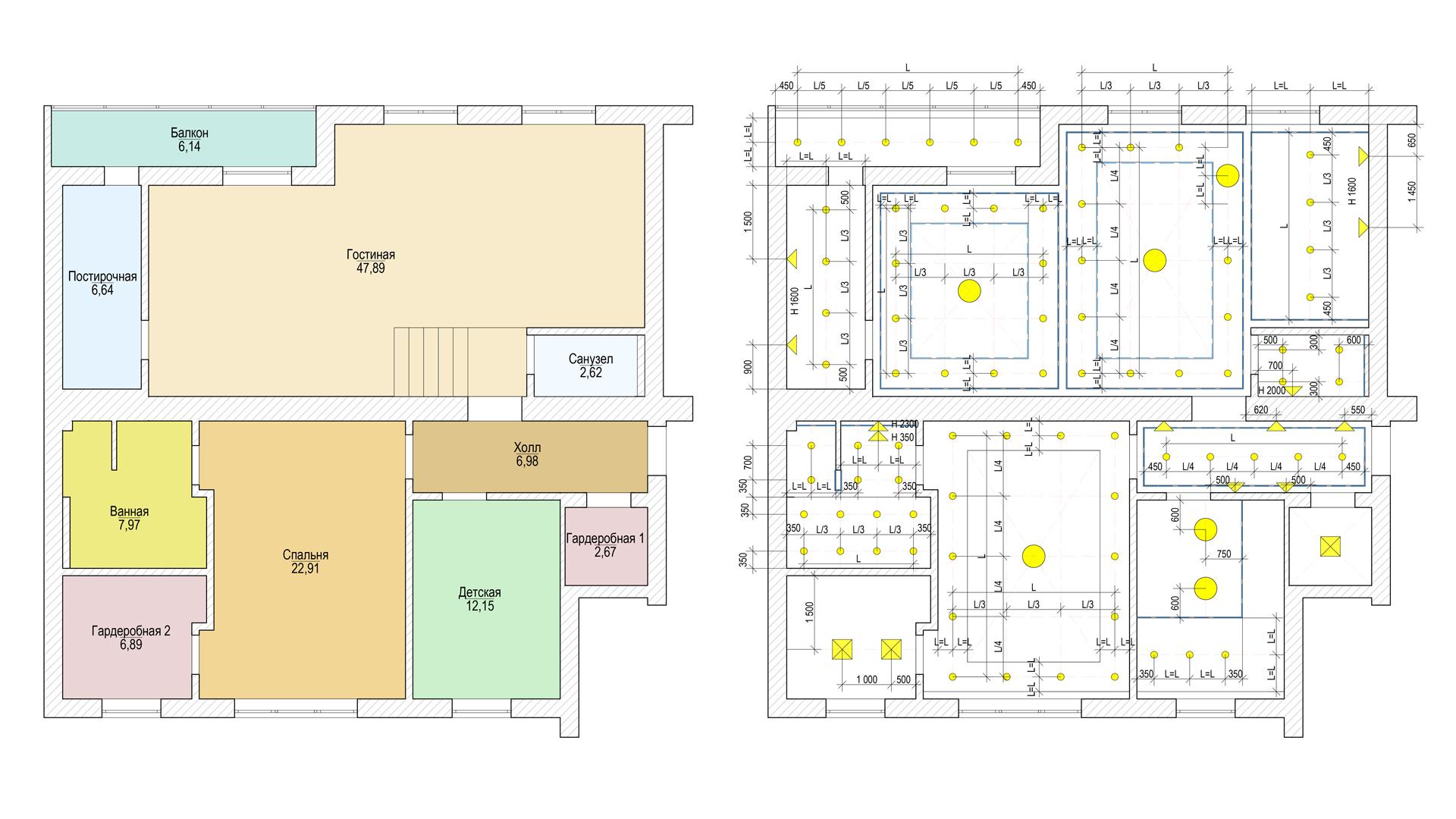 Чертежи расположения комнат и осветительных приборов
