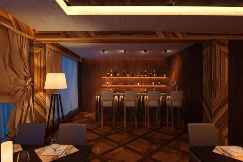 Эффектная барная стойка в дизайне интерьера кафе