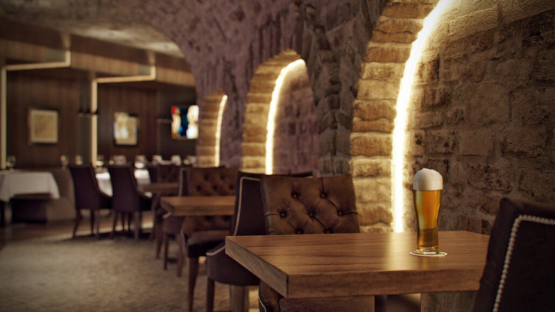 Стильный дизайн интерьера кафе в Киеве
