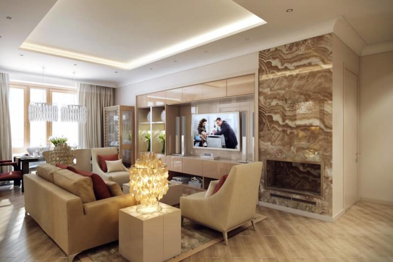 Классический интерьер гостиной с симметричной планировкой
