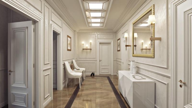 Деревянные панели и напольные покрытия в классическом дизайне холла