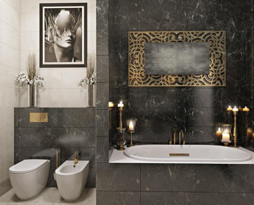 Маленькая ванная комната с крупной плиткой