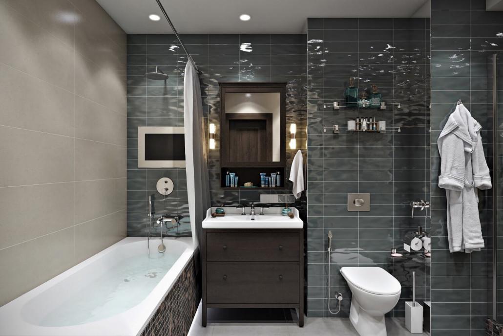 Маленькая ванная комната с глянцевой плиткой